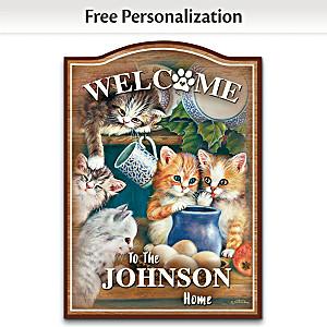 "Jürgen Scholz ""Kitten Cuties"" Personalized Welcome Sign"