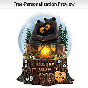 """""""Together We Are Happy Campers"""" Illuminated Glitter Globe"""
