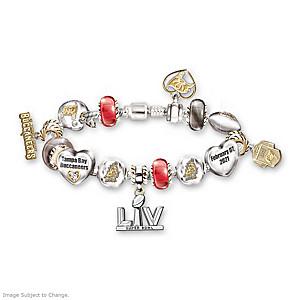 Buccaneers Super Bowl LV Swarovski Crystal Charm Bracelet