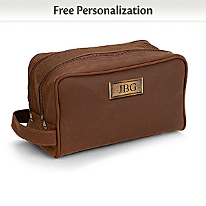 Personalized Faux Leather Toiletry Bag With Your Initials