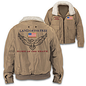 """Proud And Free"" Men's Twill Bomber Jacket"