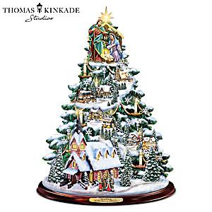 Thomas Kinkade Illuminated Musical Tabletop Christmas Tree