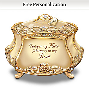 """My Dearest Niece"" Heirloom Porcelain Personalized Music Box"