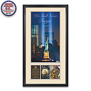"""""""We Shall Never Forget"""" 9/11 Tribute Framed Wall Decor"""