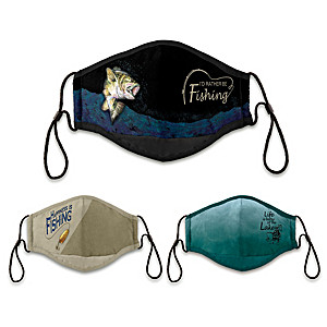3 Fishing Themed Antibacterial Adult Face Masks