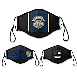 """3 """"Serve And Protect"""" Police Tribute Adult Face Masks"""