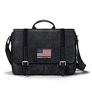 American Flag Canvas Messenger Bag With Applique Patch