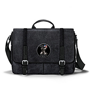 """""""Home Of The Free"""" Canvas Messenger Bag With Applique Patch"""