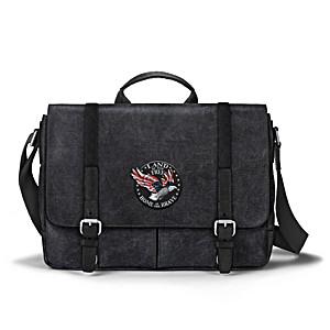 Patriotic Eagle Messenger Bag With Applique Patch