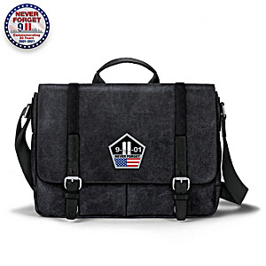9/11 Never Forget Canvas Messenger Bag With Applique Patch