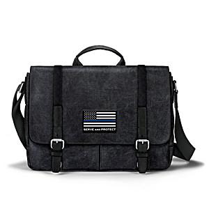 Police Flag Canvas Messenger Bag With Applique Patch