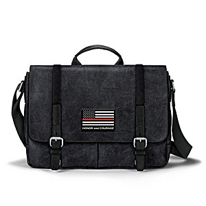 Fire Fighter Flag Canvas Messenger Bag With Applique