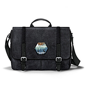 """Great Outdoors"" Men's Black Washed Canvas Messenger Bag"