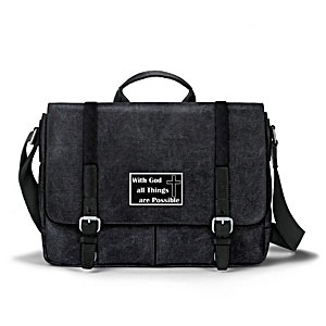 """""""All Things Are Possible"""" Men's Washed Canvas Messenger Bag"""
