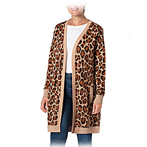 """Leopard Lux"" 100 % Cotton Women's Sweater"