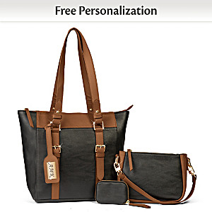 Classic Two Tone Tote Bag Set With Initials