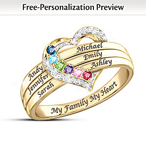 Personalized Birthstone Ring With Up To 6 Family Names