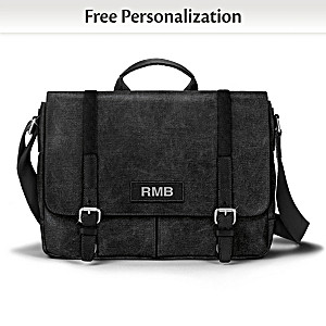 Men's Canvas Messenger Bag Personalized With Your Initials