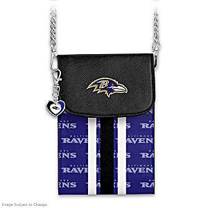 Ravens Crossbody Cell Phone Bag With Logo Charm