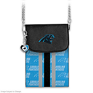 Panthers Crossbody Cell Phone Bag With Logo Charm