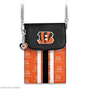 Bengals Crossbody Cell Phone Bag With Logo Charm
