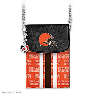 Browns Crossbody Cell Phone Bag With Logo Charm