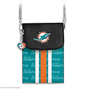 Dolphins Crossbody Cell Phone Bag With Logo Charm