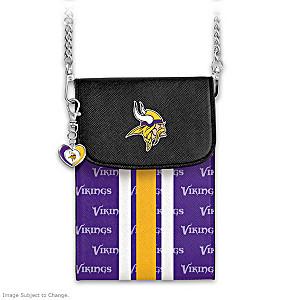 Vikings Crossbody Cell Phone Bag With Logo Charm