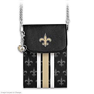 Saints Crossbody Cell Phone Bag With Logo Charm