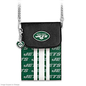 Jets Crossbody Cell Phone Bag With Logo Charm