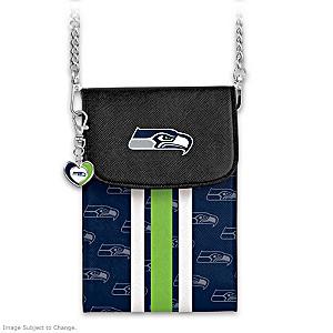 Seahawks Crossbody Cell Phone Bag With Logo Charm