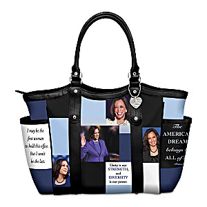 Kamala Harris Shoulder Tote With Portraits And Her Quotes