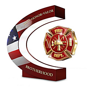 Firefighter Levitating Tribute Spins Inside Illuminated Base