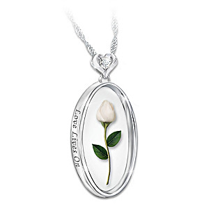 """""""Love Lives On"""" Rosebud Remembrance Necklace With Diamond"""