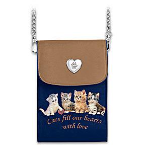 "Jürgen Scholz ""Charming Cats"" Crossbody Cell Phone Bag"