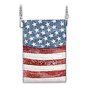 """Stars & Stripes Forever"" Patriotic Crossbody Cell Phone Bag"