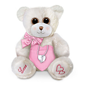 Heart Pendant Necklace And Plush Bear Set For Granddaughter