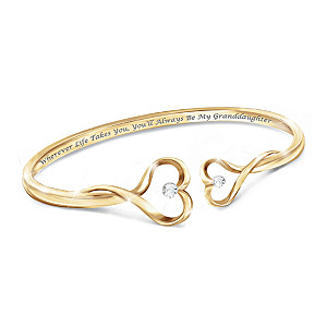 """Always My Granddaughter"" 18K Gold-Plated Diamond Bracelet"