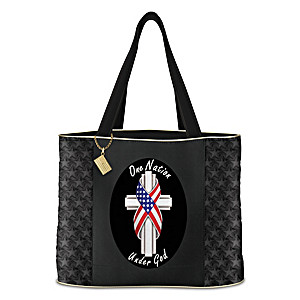 """""""One Nation Under God"""" Tote Bag With American Flag Charm"""