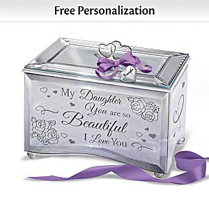 Mirrored Music Box For Daughter With Personalized Charm