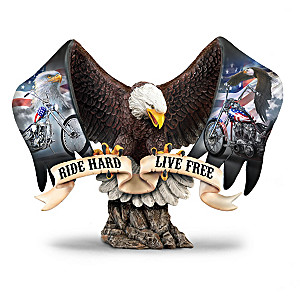 """""""Ride Hard, Live Free"""" Motorcycle Tribute Eagle Sculpture"""