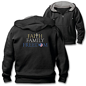 """Faith, Family, Freedom"" Cotton-Blend Men's Hoodie"