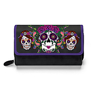 """Sweet Spirits"" Trifold Wallet With Sugar Skull Artwork"