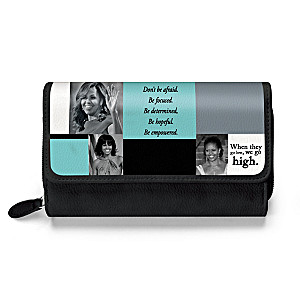 Michelle Obama Trifold Wallet With Inspirational Quotes