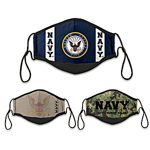 3 U.S. Navy Adult Cloth Face Coverings With Case