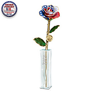 """""""We Will Never Forget"""" 9/11 Preserved Rose Table Centerpiece"""
