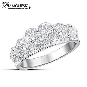 Princess Diana Spencer Tiara-Inspired Simulated Diamond Ring