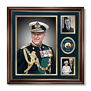 Prince Philip Framed Wall Decor With Tribute Crown Coin