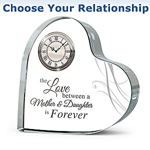 """""""Forever Loved"""" Crystal Table Clock: Choose A Relationship"""