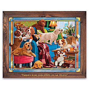 """""""Playful Puppies"""" Illuminated Stained-Glass Wall Decor"""